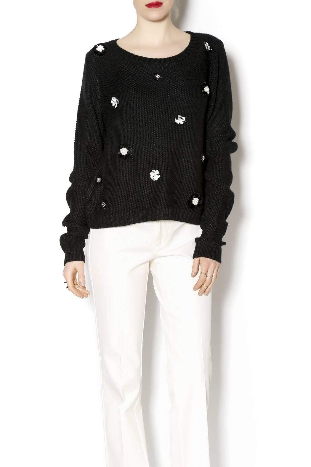 Knit black long sleeve sweater with delicate and feminine pearl and rhinestone flowers. Try this lovely little sweater over a red skater skirt with black pumps!   Black Flower Sweater by Endless Rose. Clothing - Tops - Long Sleeve Clothing - Sweaters - Crew & Scoop Neck Houston, Texas