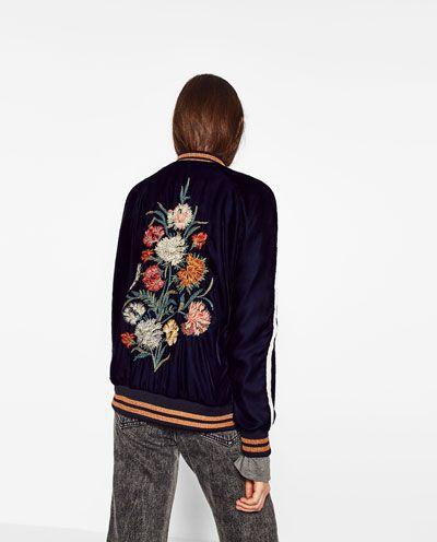 Imagen 7 de BOMBER BORDADO FLORES de Zara | Embroidered