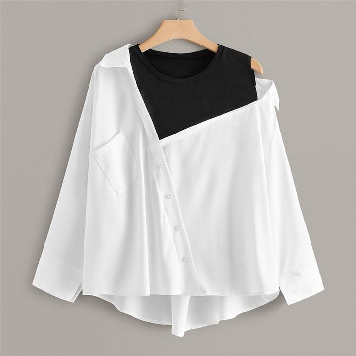 Women's Casual O-Neck Asymmetrical Blouse With Pocket