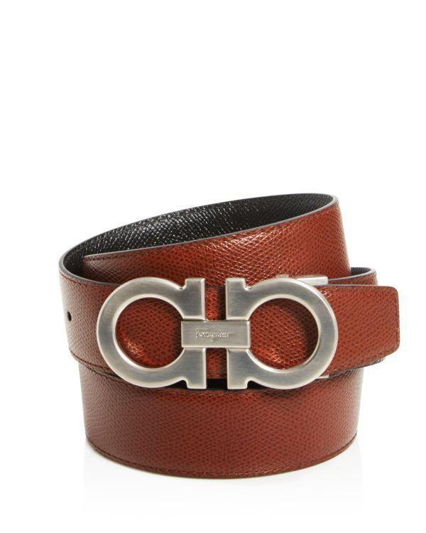 Salvatore Ferragamo Double Gancini Stamped Reversible Belt  10e935256d75