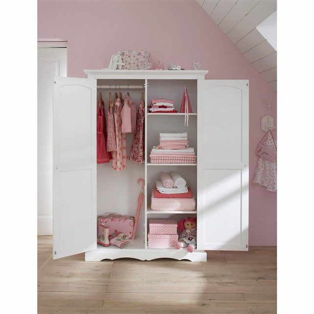 armoire pin massif coloris blanc authentic style la. Black Bedroom Furniture Sets. Home Design Ideas