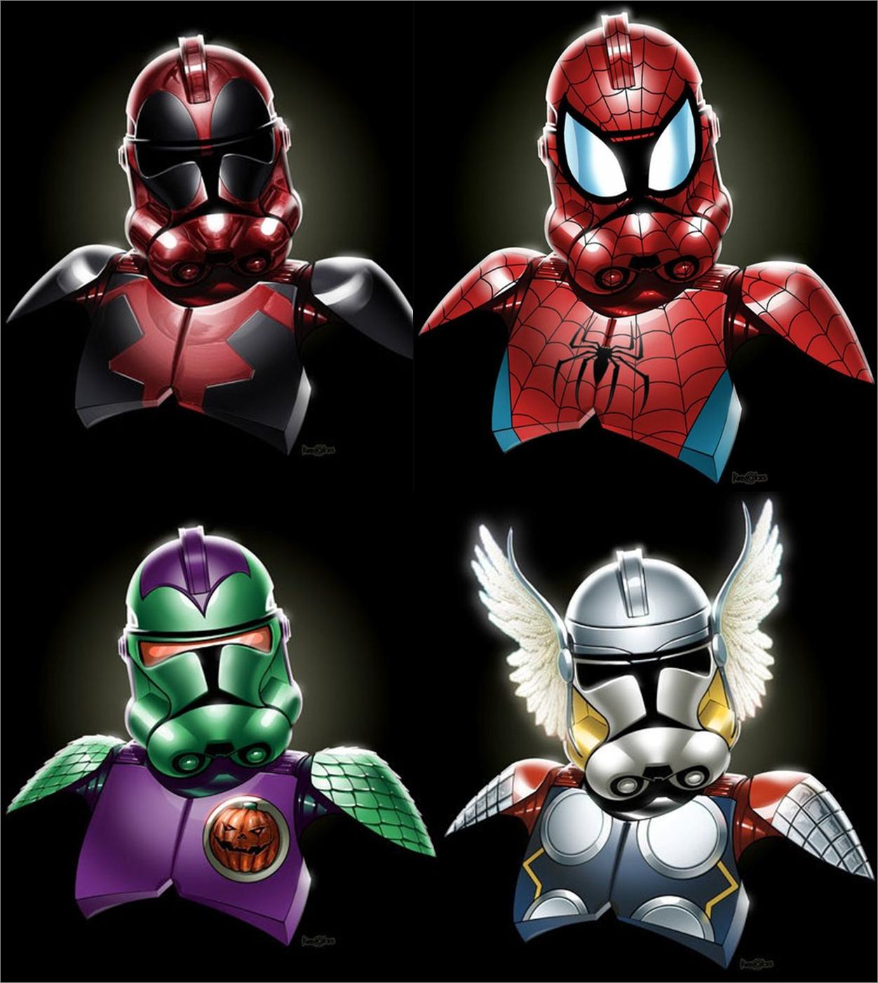 Deadpool Spiderman Green Goblin Thor Marvel Star Wars Mashup Star Wars Villains Funny Star Wars Memes Star Wars Art