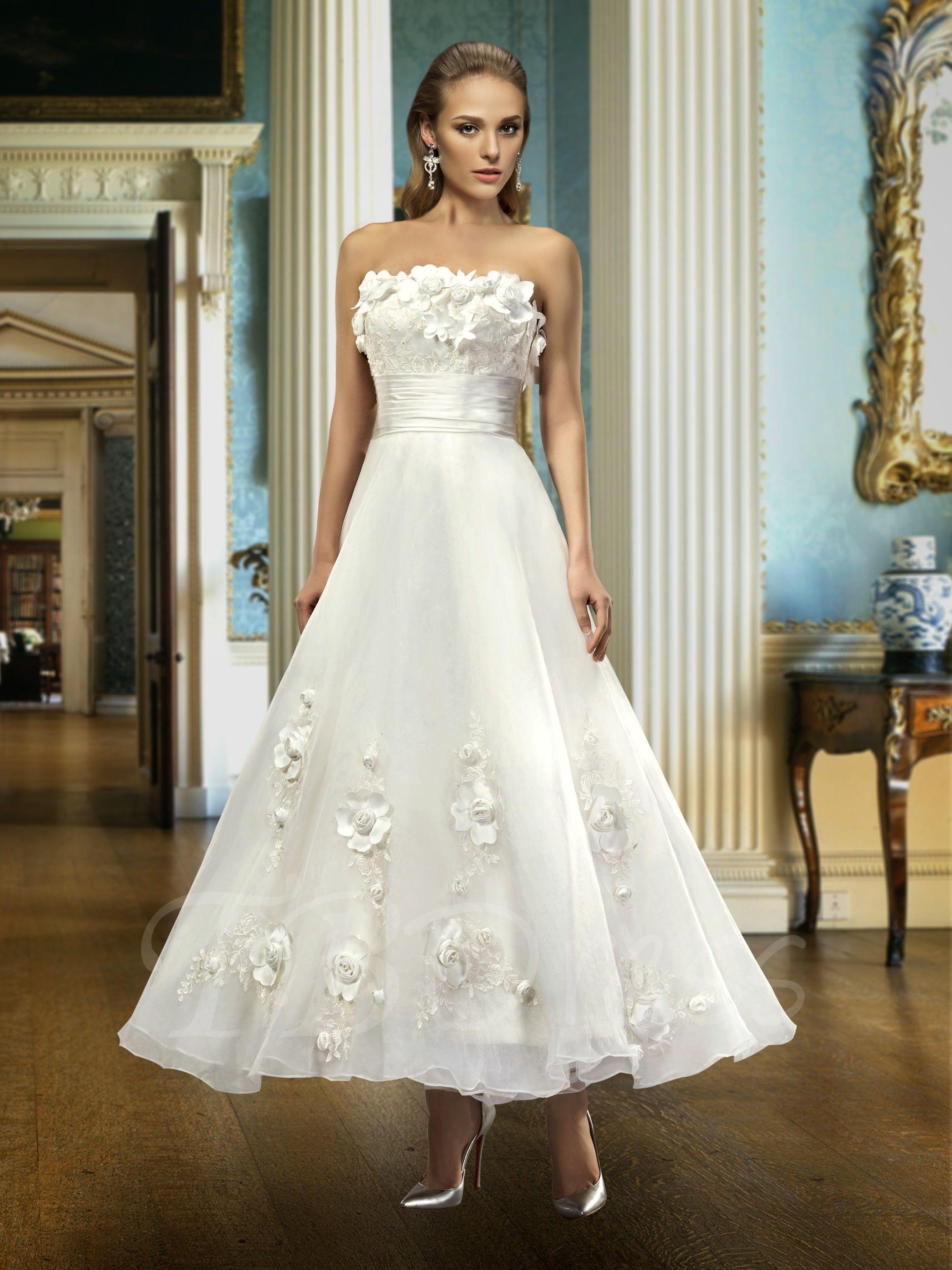 Al A Line Strapless Flowers Ankle Length Wedding Dress