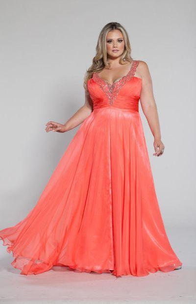 Sydneys Closet Sc7075 Plus Size V Neck Dress Coral Bridesmaid Dresses Dresses Girls Formal Dresses
