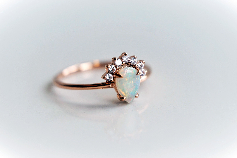 Lily Pear Australian Opal & Diamond Raised Crown