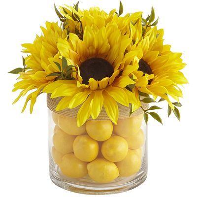 Faux Lemon Filled Sunflower Arrangement Sunflower Arrangements Lemon Kitchen Decor Kitchen Table Centerpiece