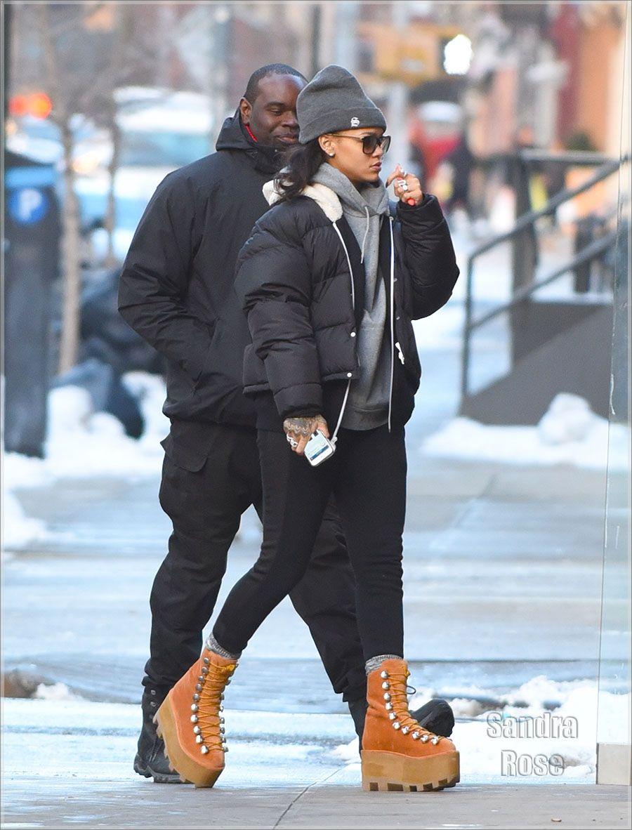 b4dcde576b3aca Rihanna wearing Alexander Wang platform boots