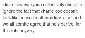it is the truth. charlie cox, matt murdock/daredevil text post