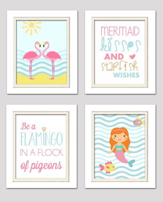 flamingo nursery decor Mermaid nursery flamingo nursery prints pink and gold nursery