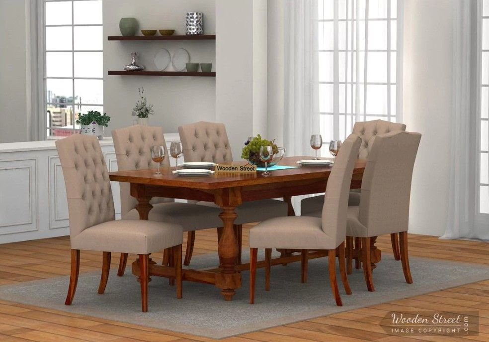 Buy Elance 6 Seater Dinning Set Honey Finish Online In India In