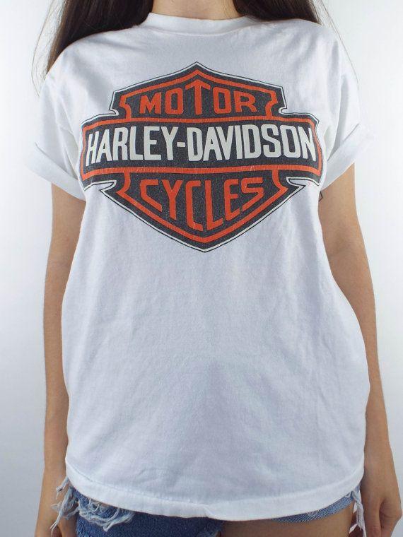 Vintage 90s White Harley Davidson Logo Tee Harley Shirts Harley Davidson T Shirts Harley Apparel