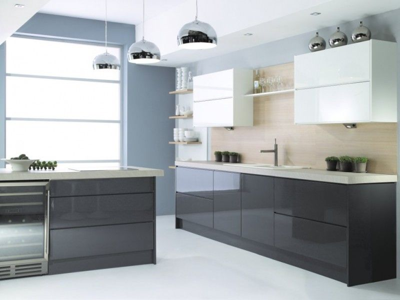 Handleless kitchen doors dark grey google search for Kitchen units grey gloss