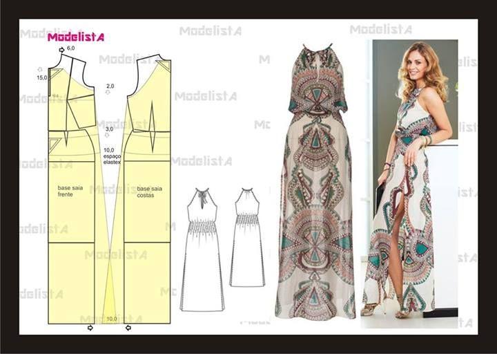 vestido largo   PATRONAJE   Pinterest   Costura, Vestidos y Patrones ...