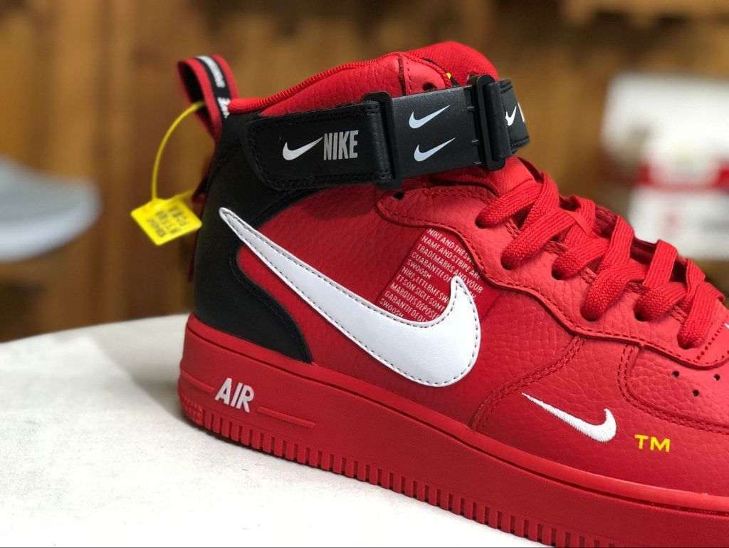 Mens Nike Air Force 1 Mid BlackWhiteRed Sports Shoes