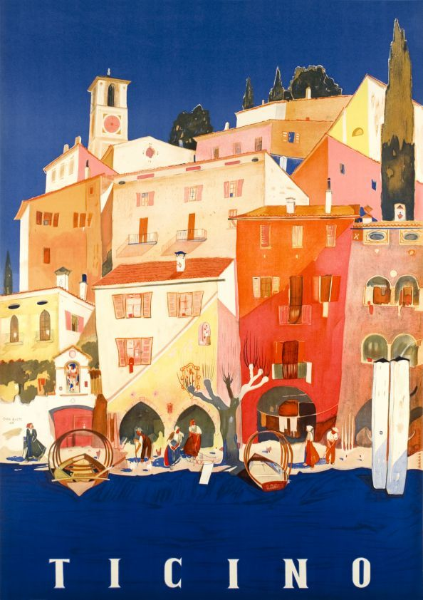 Ticino by Buzzi Daniele / 1946. Beautiful stone lithographic colors for a typical village on the Lugano lake. Ticino means Tessin in Italian, the region in the south of Switzerland at the border with Italy. The village illustrated is Grandria.