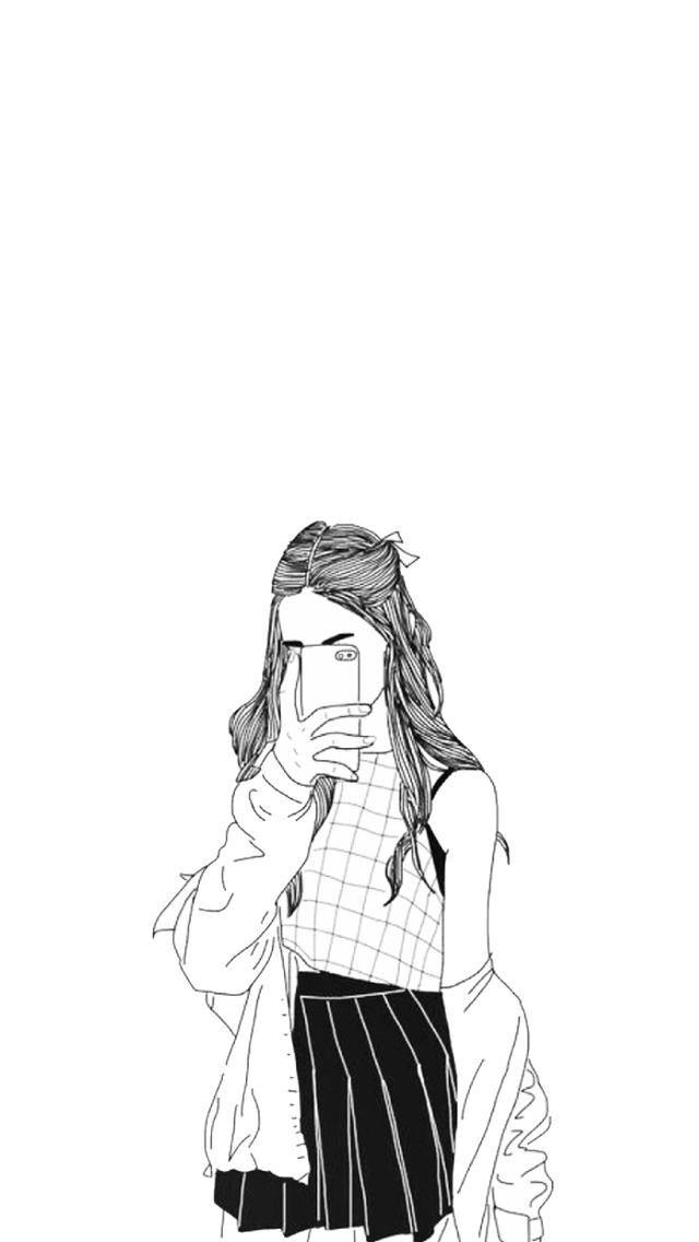 Selfie Ilustrasi Karakter Gadis Animasi Gambar Simpel