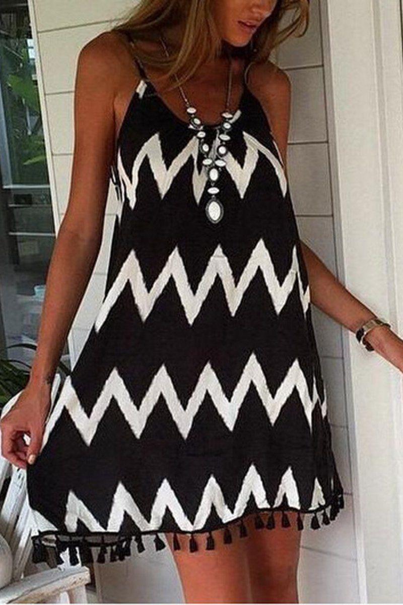 Casual Wave Pattern Sleeveless Mini Dress