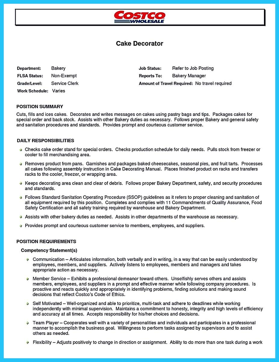 cake decorator resume example