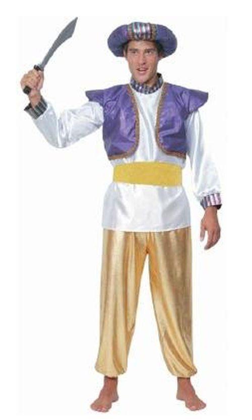 1001 Nights Hat With Feather And Gem Aladdin Sultan Genie Turban Arabian