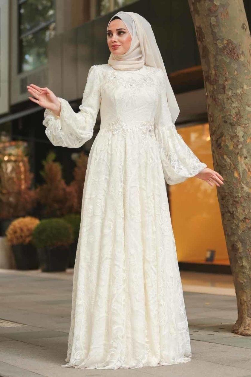 Tesetturlu Abiye Elbise Tesetturlu Abiye Elbise Balon Kol Ekru Tesettur Abiye Elbise 3939e Hijab Dress Party Dress Brokat Muslim Modest Maxi Dress