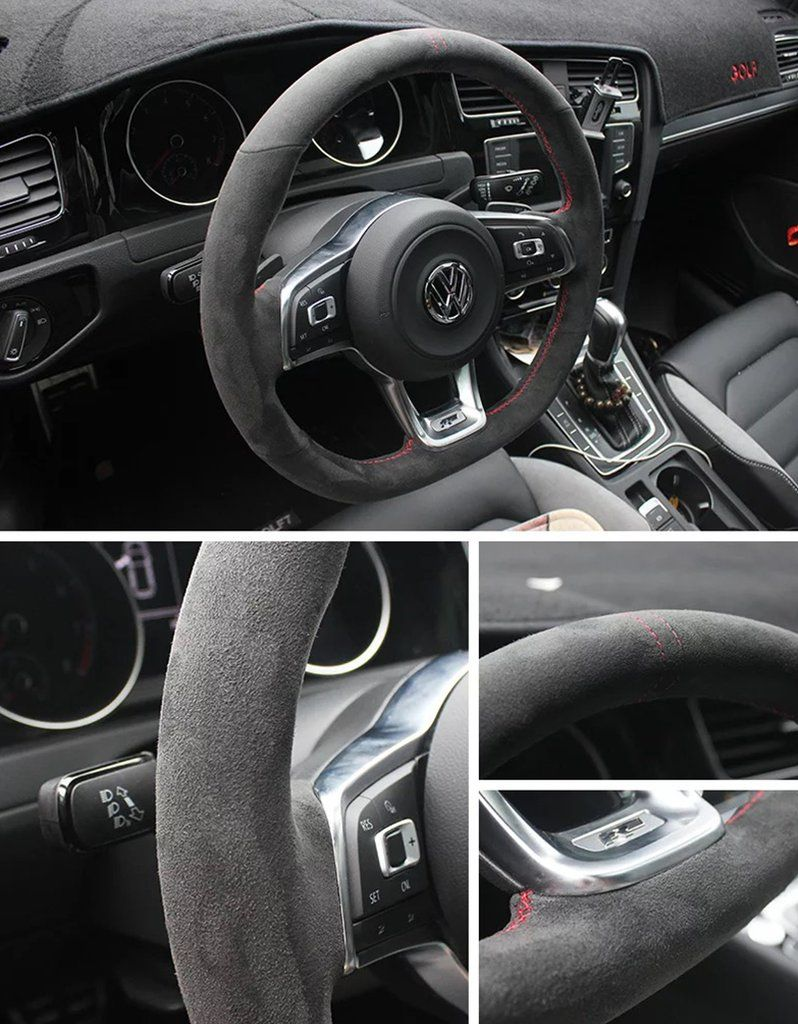 Synthetic Cashmere Steering Wheel Cover For Volkswagen Golf 6 7 Mk