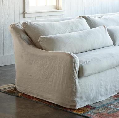 Nob Hill sofa in a pretty linen slipcover ... so coastal cottage ...
