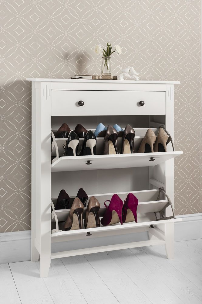 Amazing Shoe Storage Cabinet Deluxe With Storage Drawer Cotswold In White