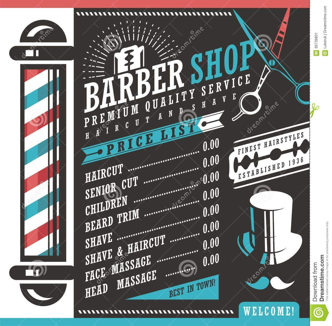 Barber Shop Price List Template Haircut Shave Retro Sign Dark Background Gentlemen Hair Sty Ideias Para Barbearias Desenhos Para Barbearia Projeto De Barbearia
