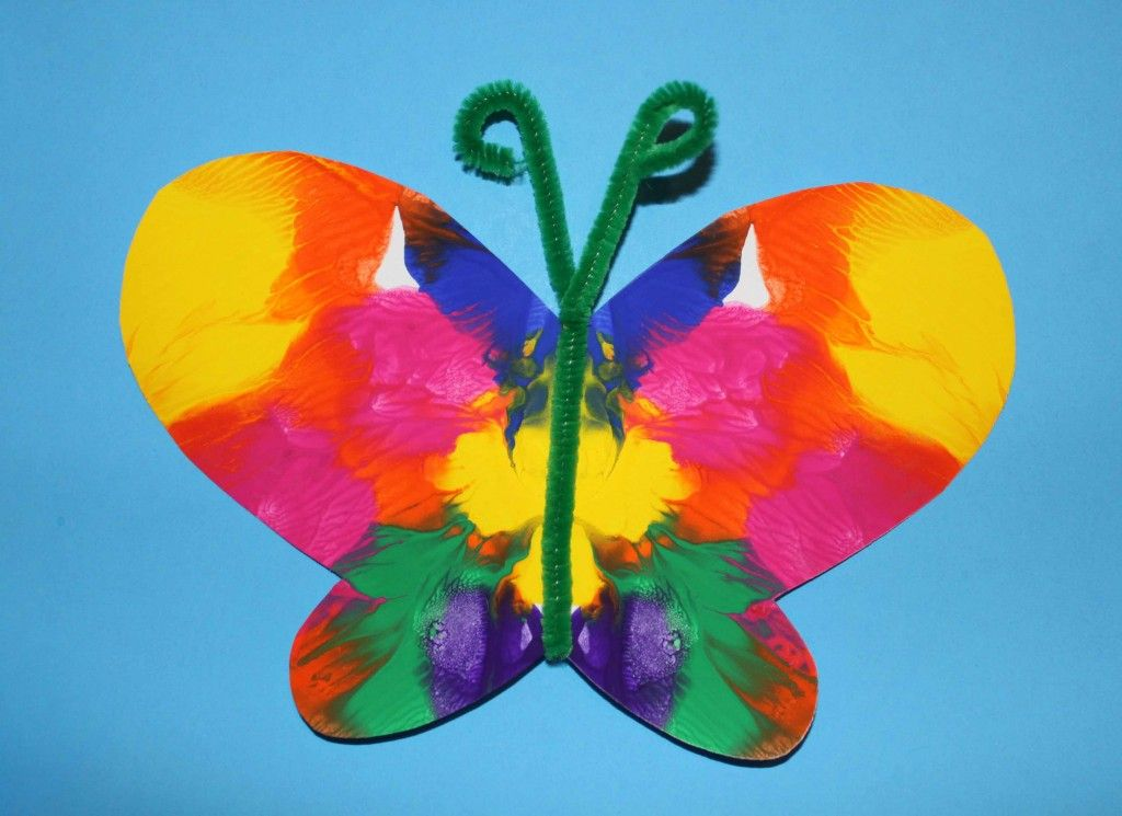 Symmetrical Painted Butterfly Craft Crafts For Kids Preschool