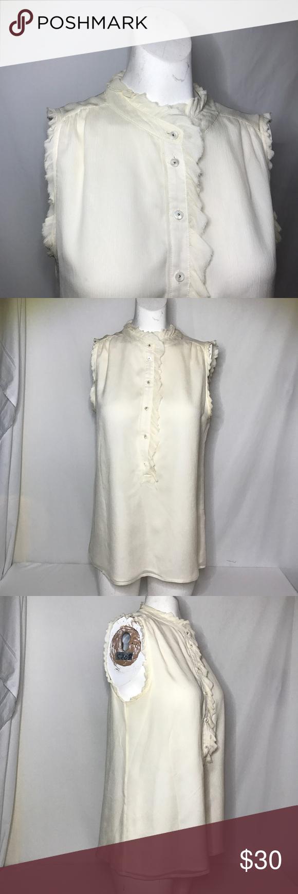 3440fe2b J. Crew sheer button down blouse size 6 Exterior 100% silk Interior 100%