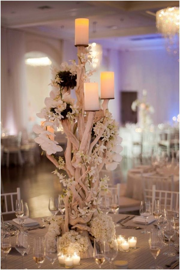 Beach Inspired Branch Centerpiece With White Orchids And Candles