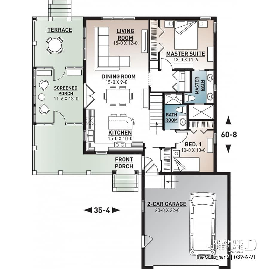 house plan The Gallagher 2 No. 3949V1 Drummond house