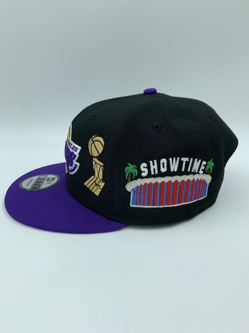 Custom Exclusive 2021 Los Angeles Lakers New Era Snapback Showtime Championship Edition In 2020 Los Angeles Lakers New Era Snapback Fitted Caps
