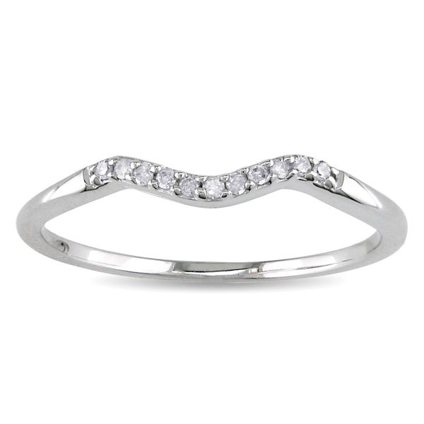 Haylee Jewels 10k White Gold Diamond Accent Curved Wedding Band My