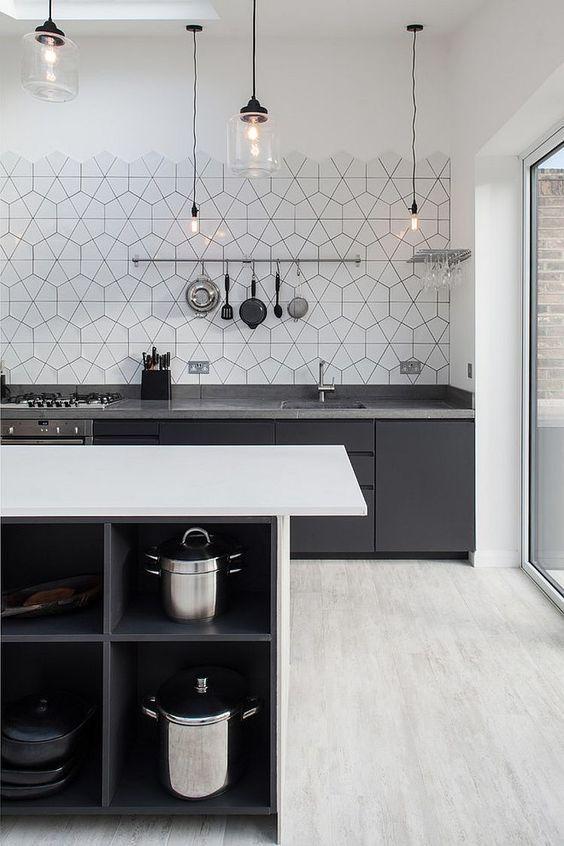 Azulejos: 8 ejemplos en gris y blanco para tu cocina | Cocina blanca ...