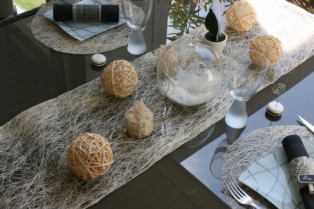 idée deco table, chemin table abaca et nappe blanche | baptême