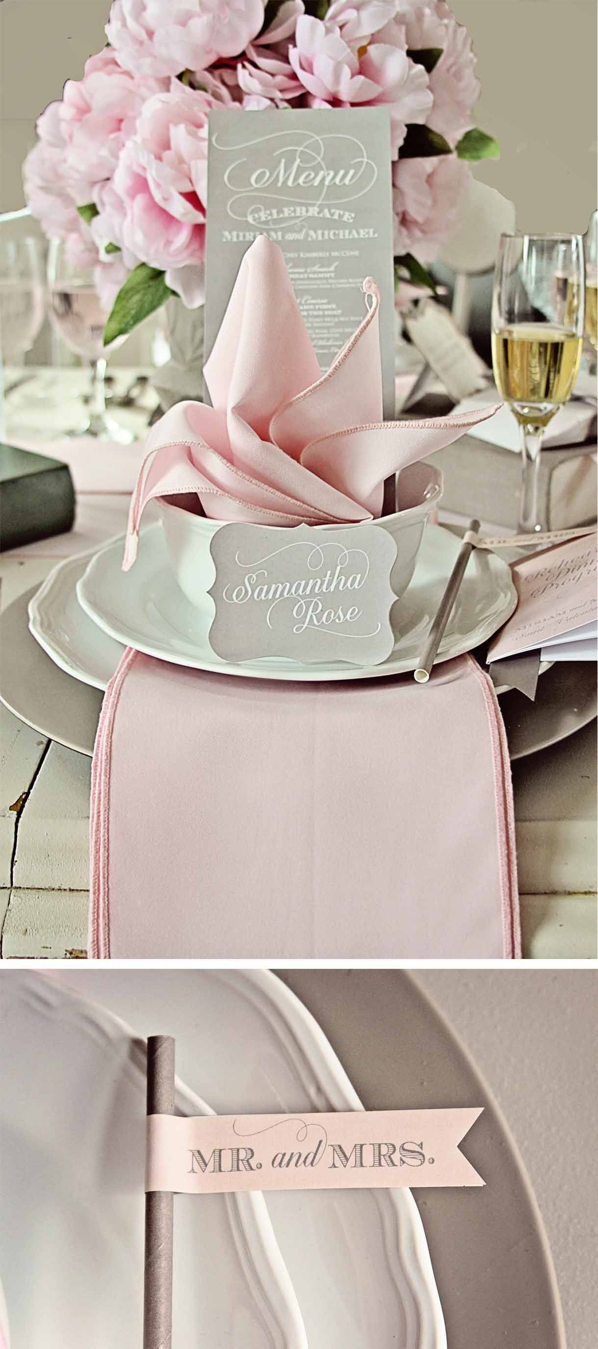 Table Setting Light Pink And Grey Napkins Charger Plates Pinterest Gray Weddings Wedding