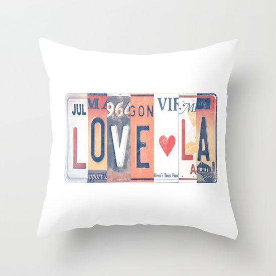 THROW PILLOW,LOVE, LA,COLOR, Graphic Design, Plate