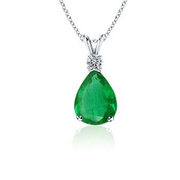 Angara Natural Emerald Teardrop Pendant in White Gold