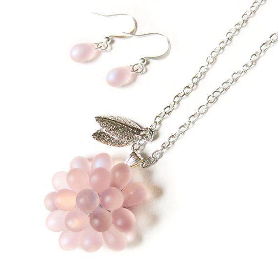 Iced RaspBerry Pendant Necklace and Earrings set   by Kirameku