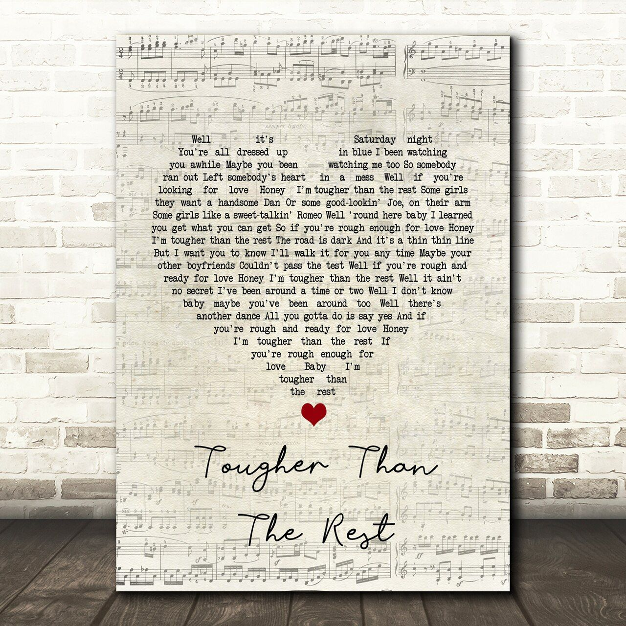 Bruce Springsteen Tougher Than The Rest Script Heart Song Lyric Quote Print Song Lyric Print Wall Art Quotes Lyric Prints