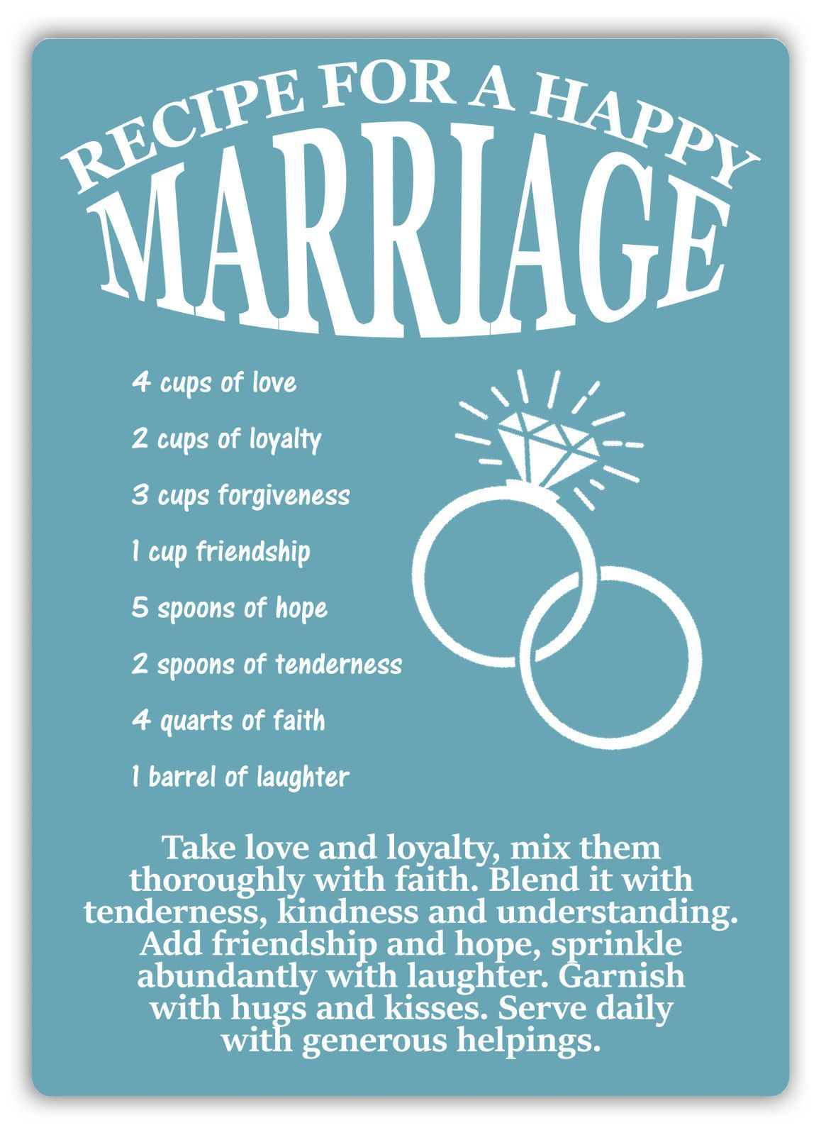 <strong>relationships Goals Videos Text (null)</strong> Recipe For A Happy Marriage Metal Wall Sign Plaque Art Love Family Wife House