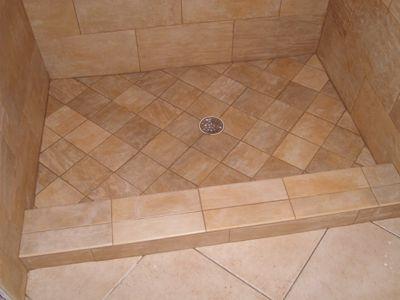 Shower+pan+tile+idea | Tile Ready Shower Pans Single Curb Center Drain