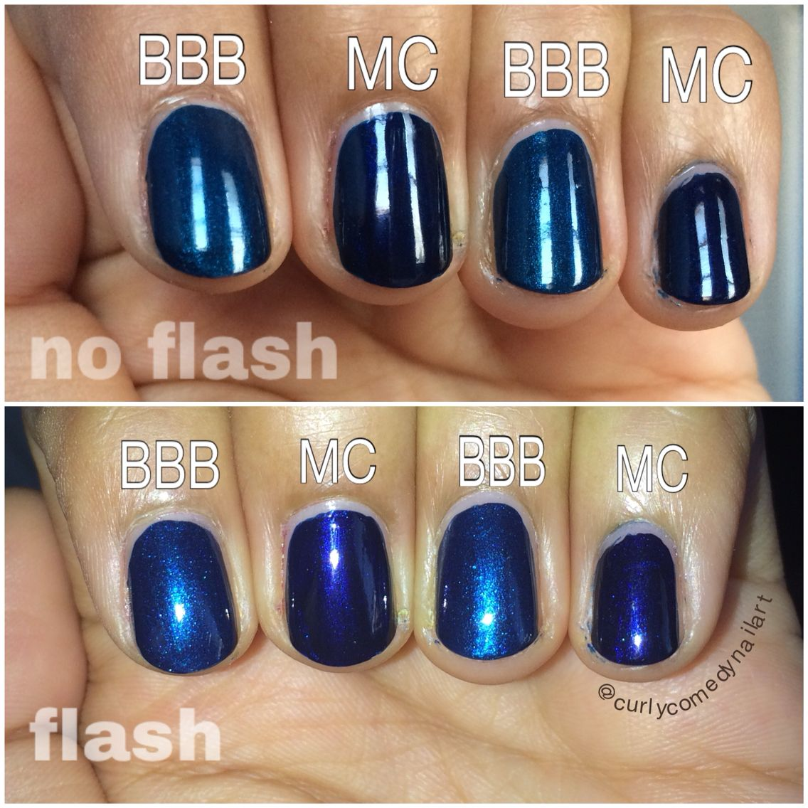 Essie Bell Bottom Blues vs Essie Midnight Cami