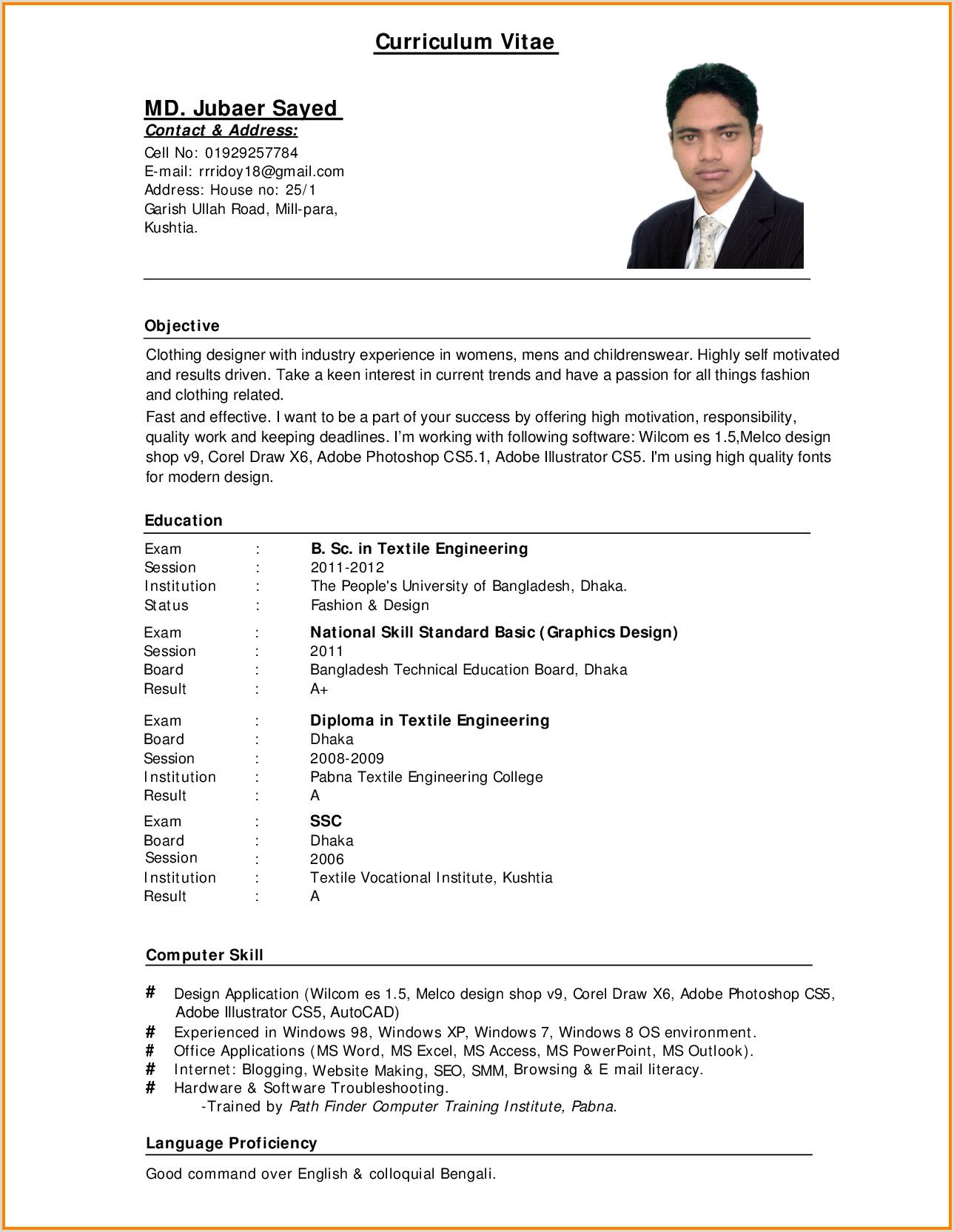 Sample Resume For Call Center Agent Applicant Without Experience Standard Cv Format Cv Format For Job Standard Cv