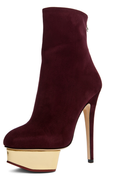 azzedine alaia shoes 2012, alaia boots discount $287, Charlotte Olympia Lucinda Ankle Boot In Aubergine