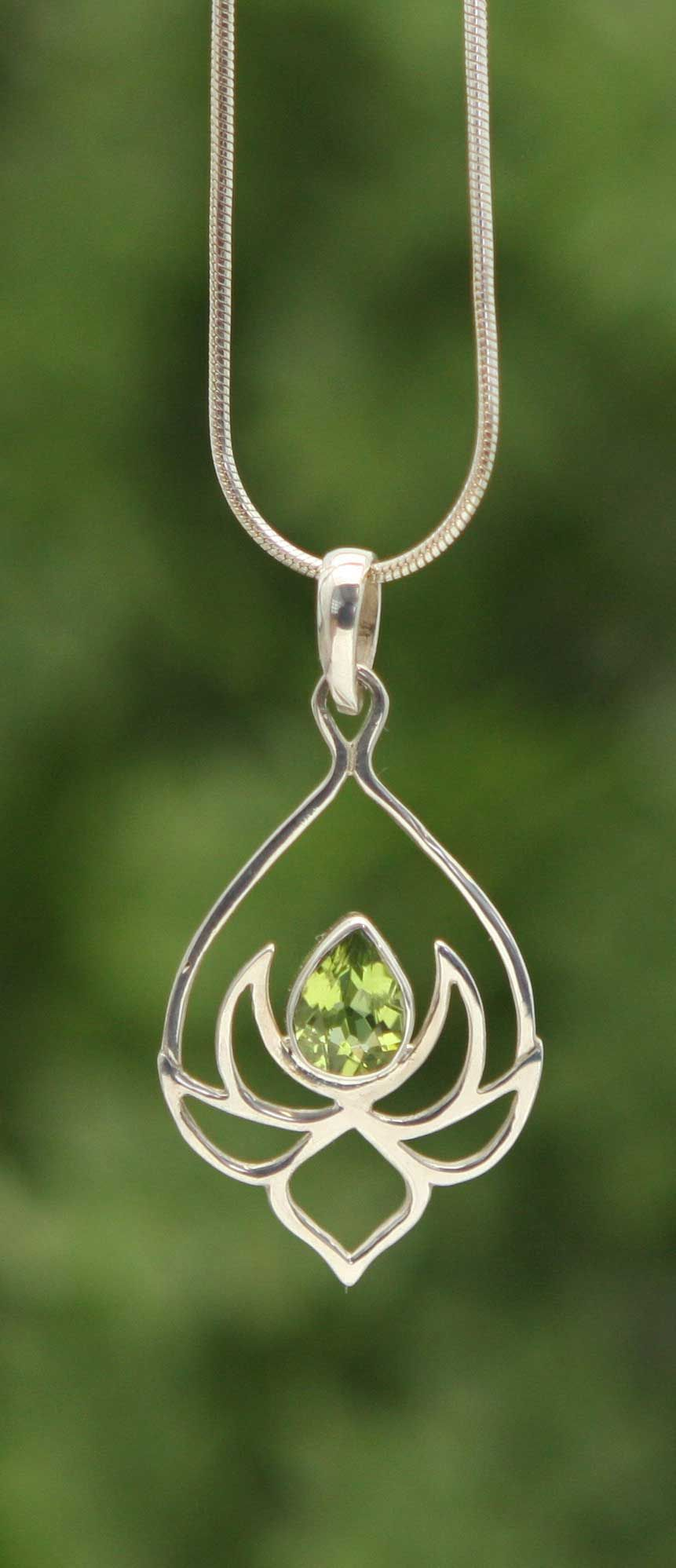 Silver lotus drop necklace with peridot stone lotus necklace pendants sterling silver lotus necklace mozeypictures Images