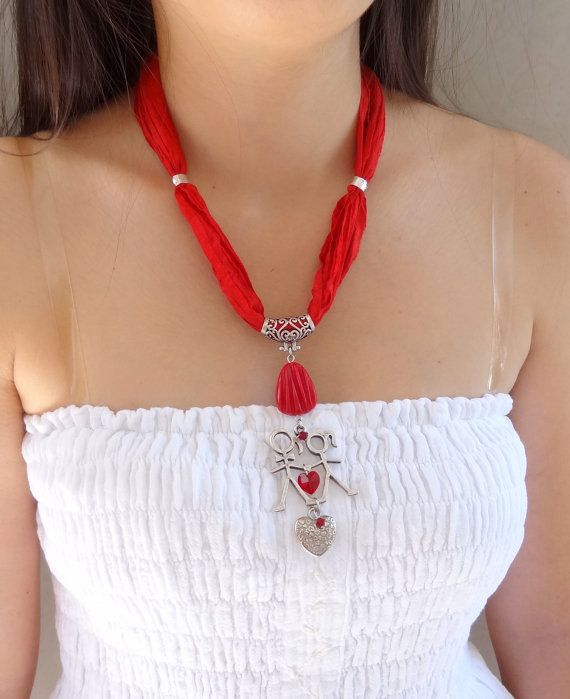 Red Turkish Silk Necklace, Charm Girl Boy and Silver Heart Necklace, Red Love Necklace, Turkish Jewelry, Gift for Her, Valentine's Day Gifts #mygirl
