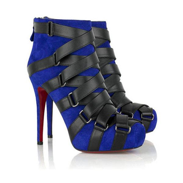 Christian Louboutin Nitoinimoi Bandage 120mm Ankle Boots Black/Navy... ($151) via Polyvore
