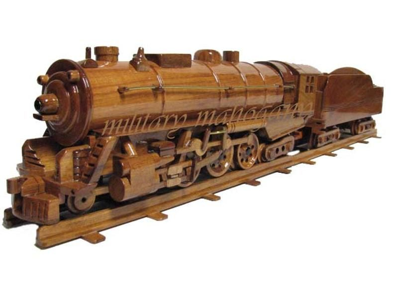 Photo of Hudson Train Locomotive Steam Engine Coal Car Mahogany Wood Wooden Desk Model